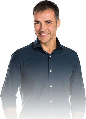 Man with navy button down shirt