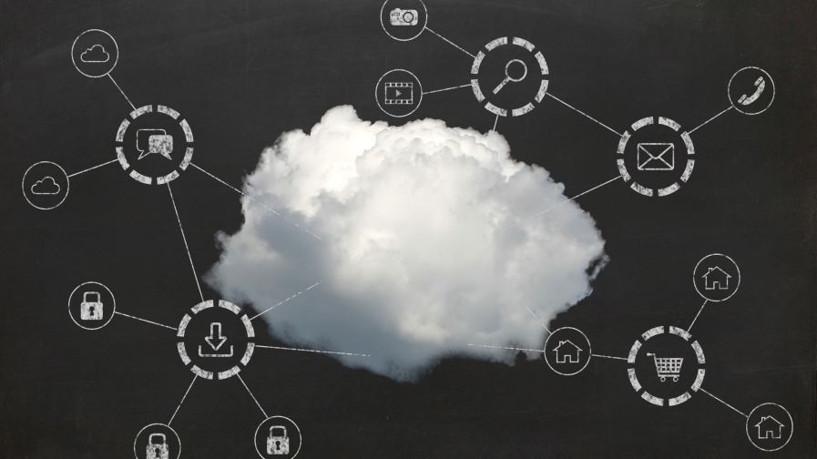 Cloud on blackboard with tech connections.