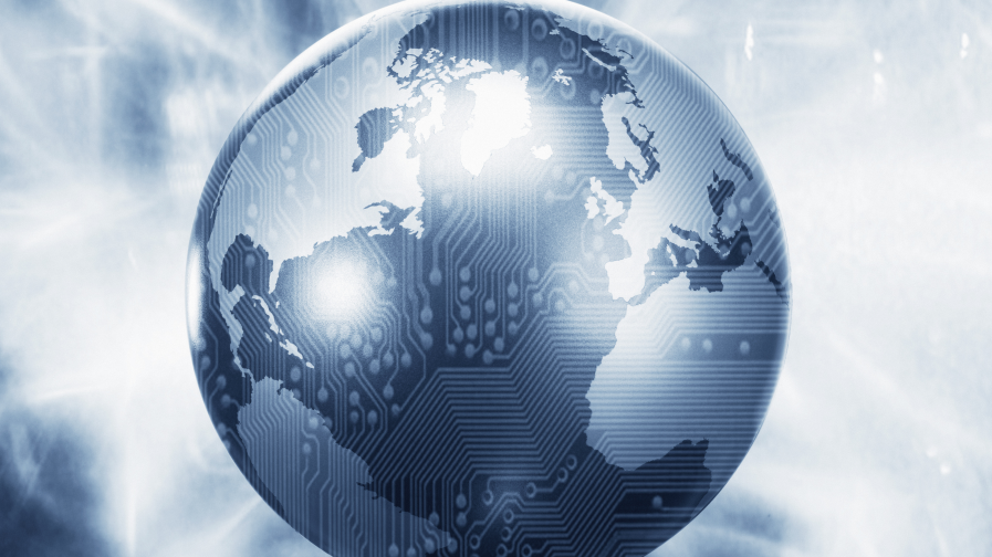 glowing globe with microchip overlay